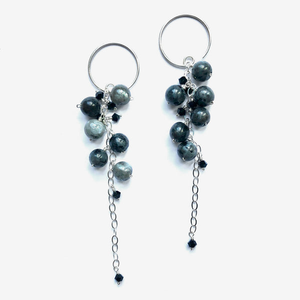 Noon Designs: Vine Nouveau Earrings, Gray & Black/Silver