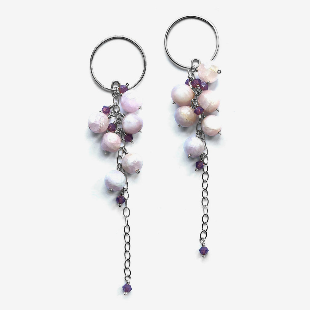 Noon Designs: Vine Nouveau Earrings, Lilac & Mauve/Silver