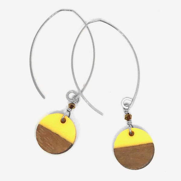 Noon Designs: Wood & Resin Disc Earrings, Butter/Silver