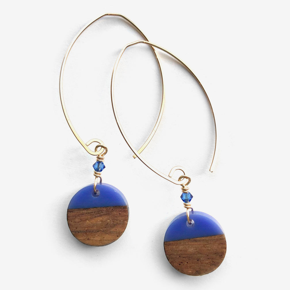 Noon Designs: Wood & Resin Disc Earrings, Periwinkle/Gold