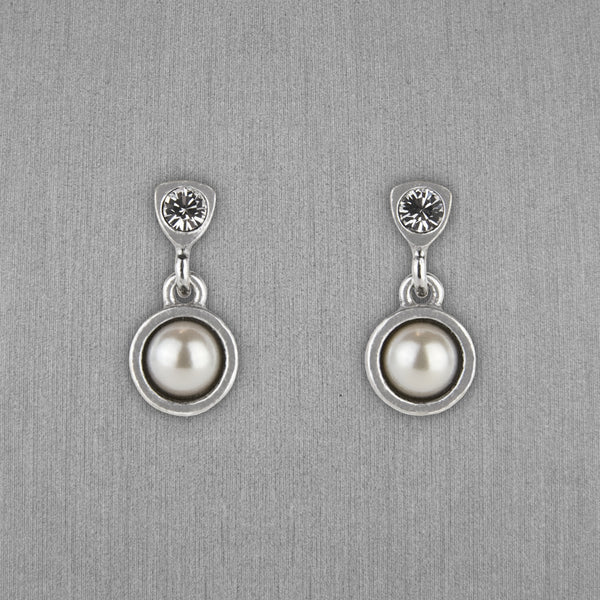 Patricia Locke Jewelry: Bouton Earrings in Crystal Pearl