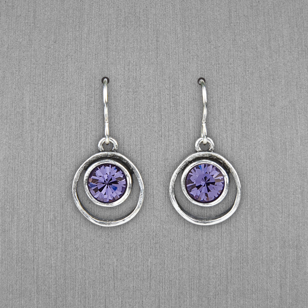 Patricia Locke Jewelry: Skeeball Earrings in Tanzanite