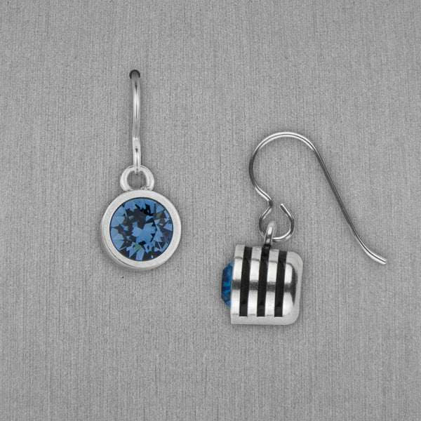 Patricia Locke Jewelry: Slotted Earrings in Denim Blue