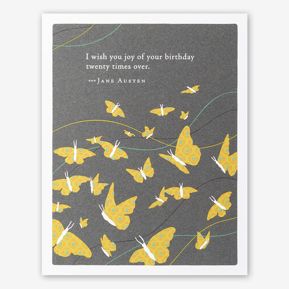 "Positively Green Cards: ""I wish you joy of your birthday twenty times over."" —Jane Austen"
