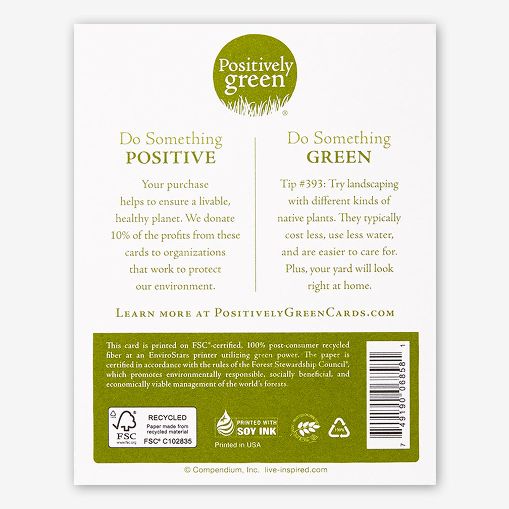 "Positively Green Cards: ""How beautiful a day can be when kindness touches it!"" —George Elliston"