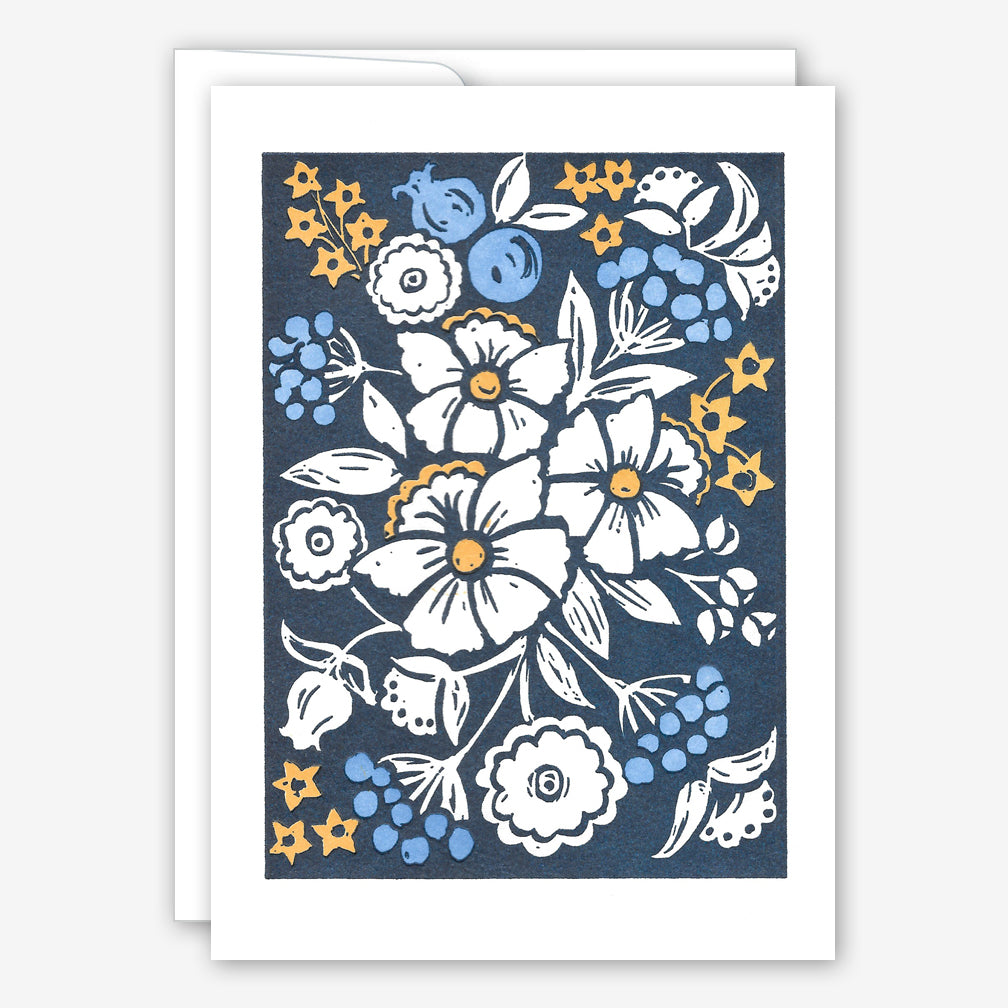 Saturn Press Cards: Blue Flowers