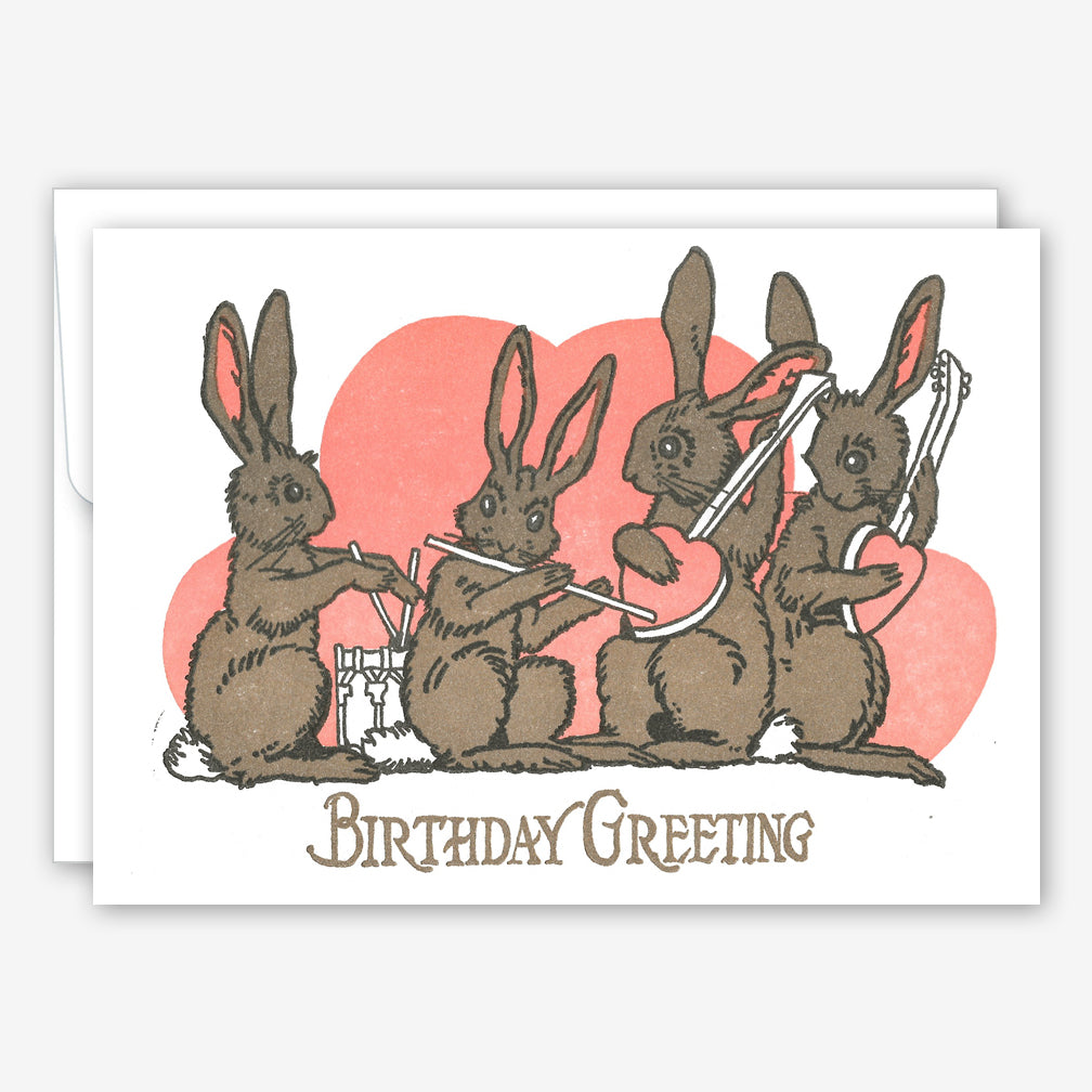 Saturn Press Birthday Card: Bunny Band
