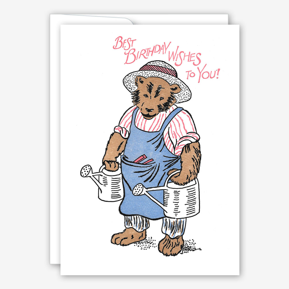 Saturn Press Birthday Card: Farmer Bear
