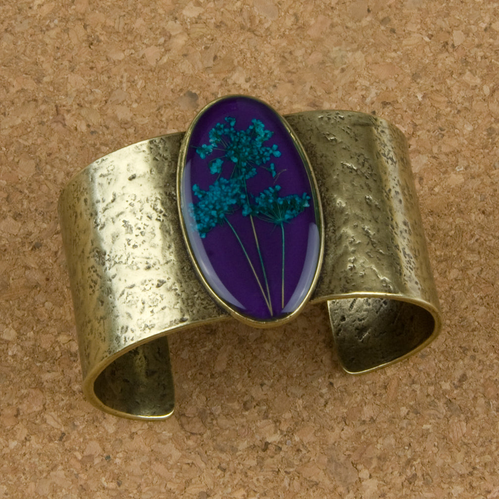 Shari Dixon Cuff: Turquoise Queen Anne's Lace on Acai, Large Oval