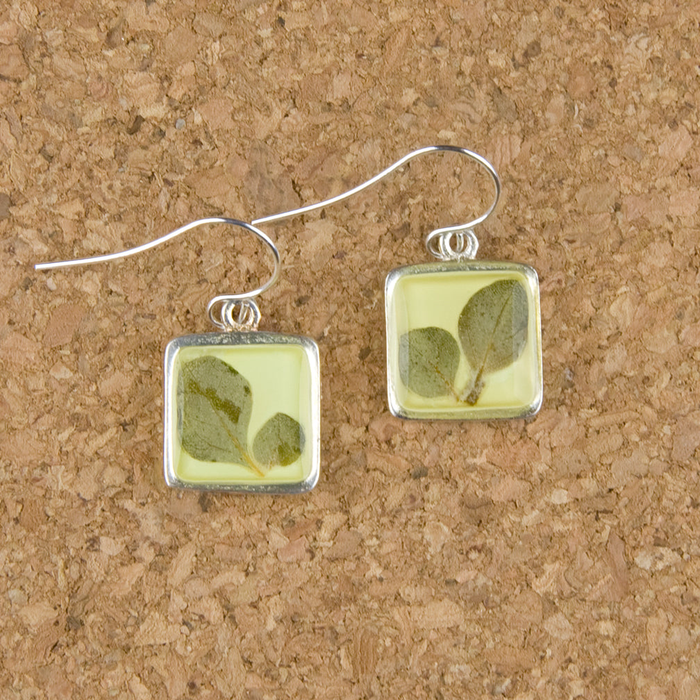 Shari Dixon Earrings: Silver Leaf on Yellow Lime, Small Square