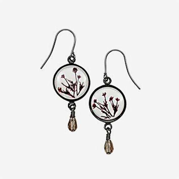 Shari Dixon: Earrings: Smoketree White Round with Drop