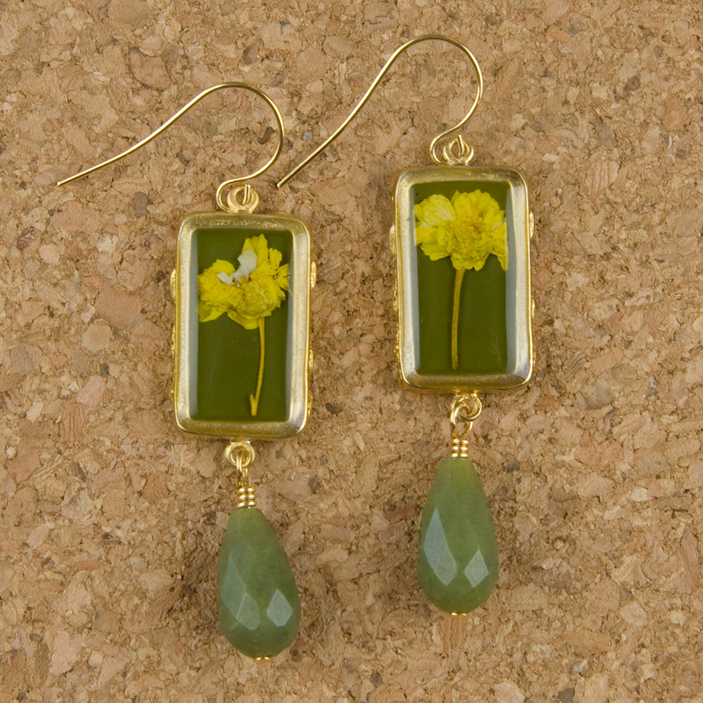 Shari Dixon Earrings: Yellow Achillea, Small Rectangle with Drop