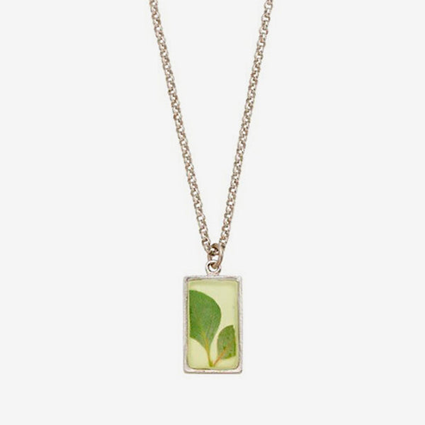Shari Dixon: Necklace: Silver Leaf Small Rectangle