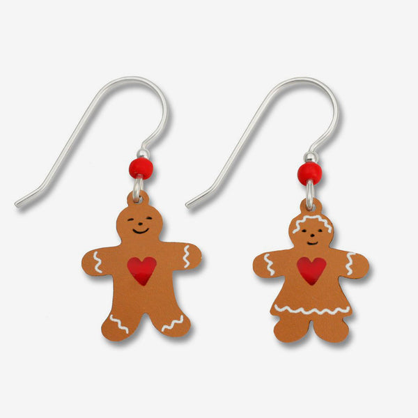 Sienna Sky Earrings: Gingerbread Couple with Red heart