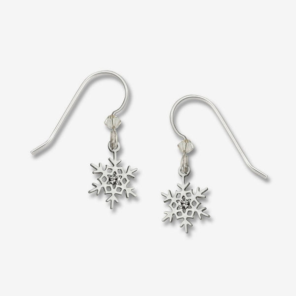 Sienna Sky Earrings: Polished Snowflake with White Crystal