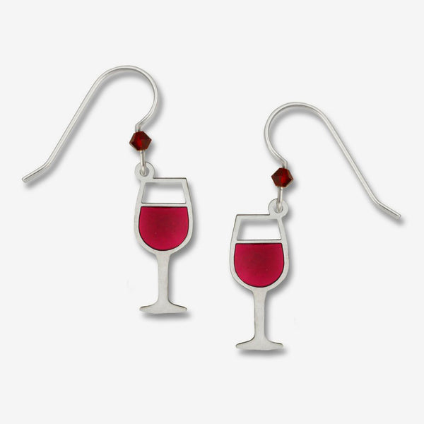 Sienna Sky Earrings: Red Wine Glass