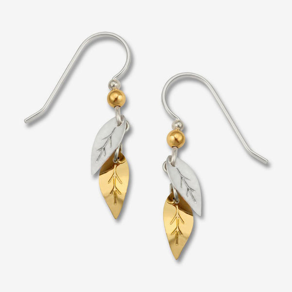 Sienna Sky Earrings: Gold & Silvertone Leaves