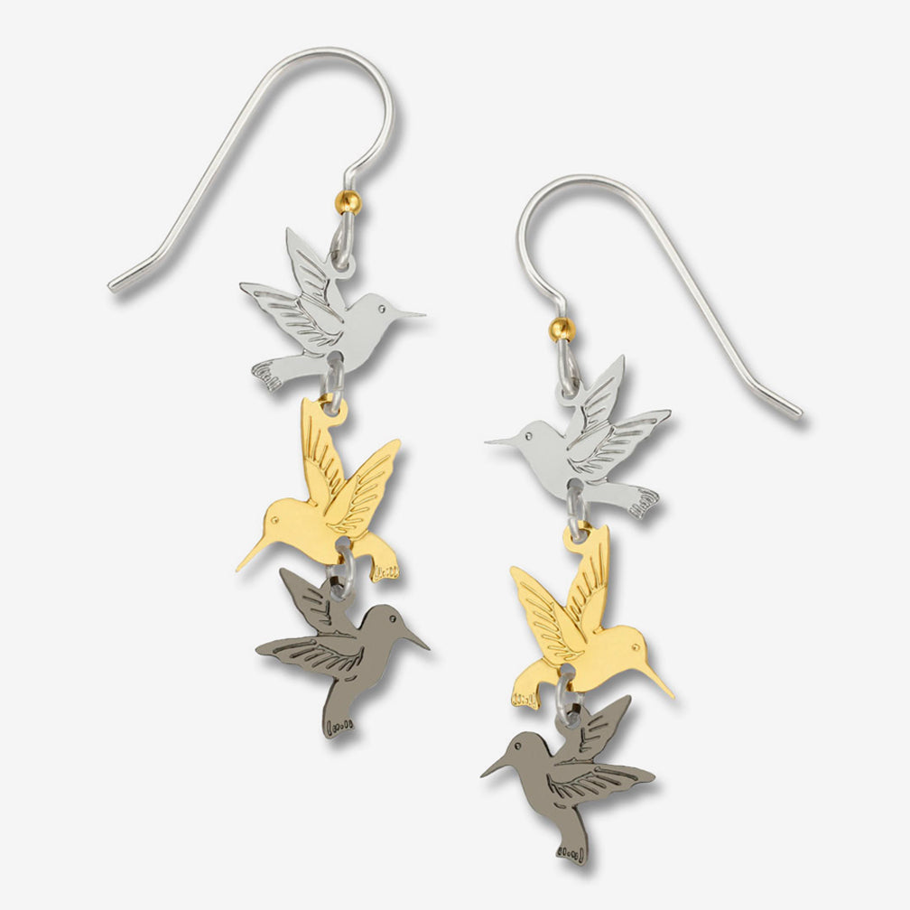 Sienna Sky Earrings: 3-Part Plated Hummingbirds
