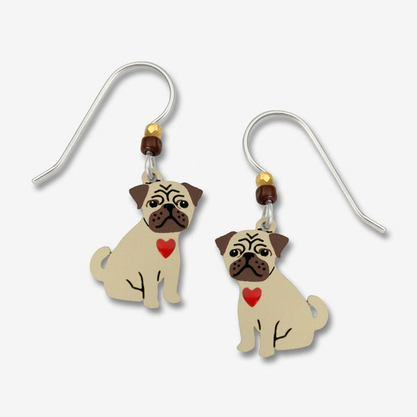 Sienna Sky Earrings: Pug Puppy with Red Heart