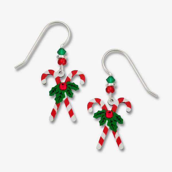 Sienna Sky Earrings: Crossed Candy Canes with Holly
