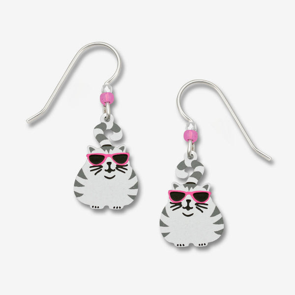 Sienna Sky Earrings: Fat Cat with Stripes And Glasses
