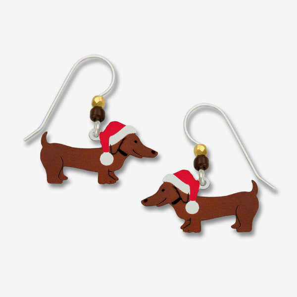 Sienna Sky Earrings: Christmas Dachshund with Santa Hat