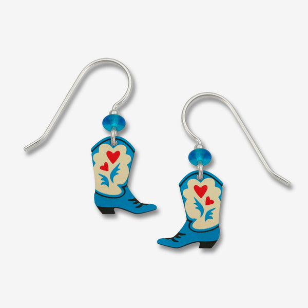 Sienna Sky Earrings: Blue Cowgirl Boots with Red Hearts