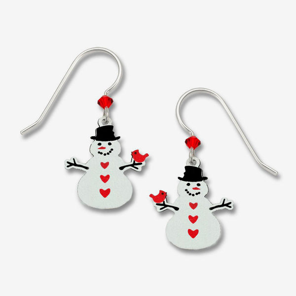 Sienna Sky Earrings: Snowman with Cardinal