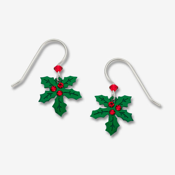 Sienna Sky Earrings: Holly with 3 Rhinestone Berries
