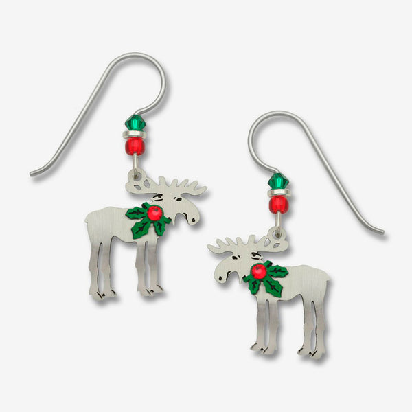 Sienna Sky Earrings: Christmas Moose with Holly