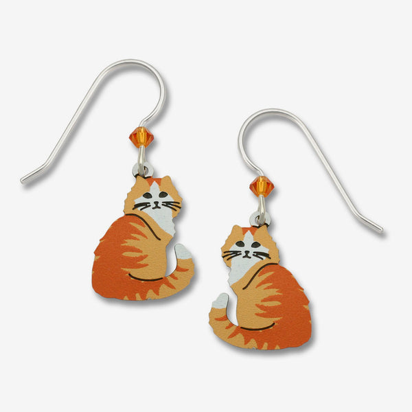 Sienna Sky Earrings: Long Haired Cat, Orange Tabby