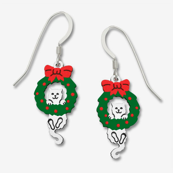 Sienna Sky Earrings: White Kitten Hanging From Wreath