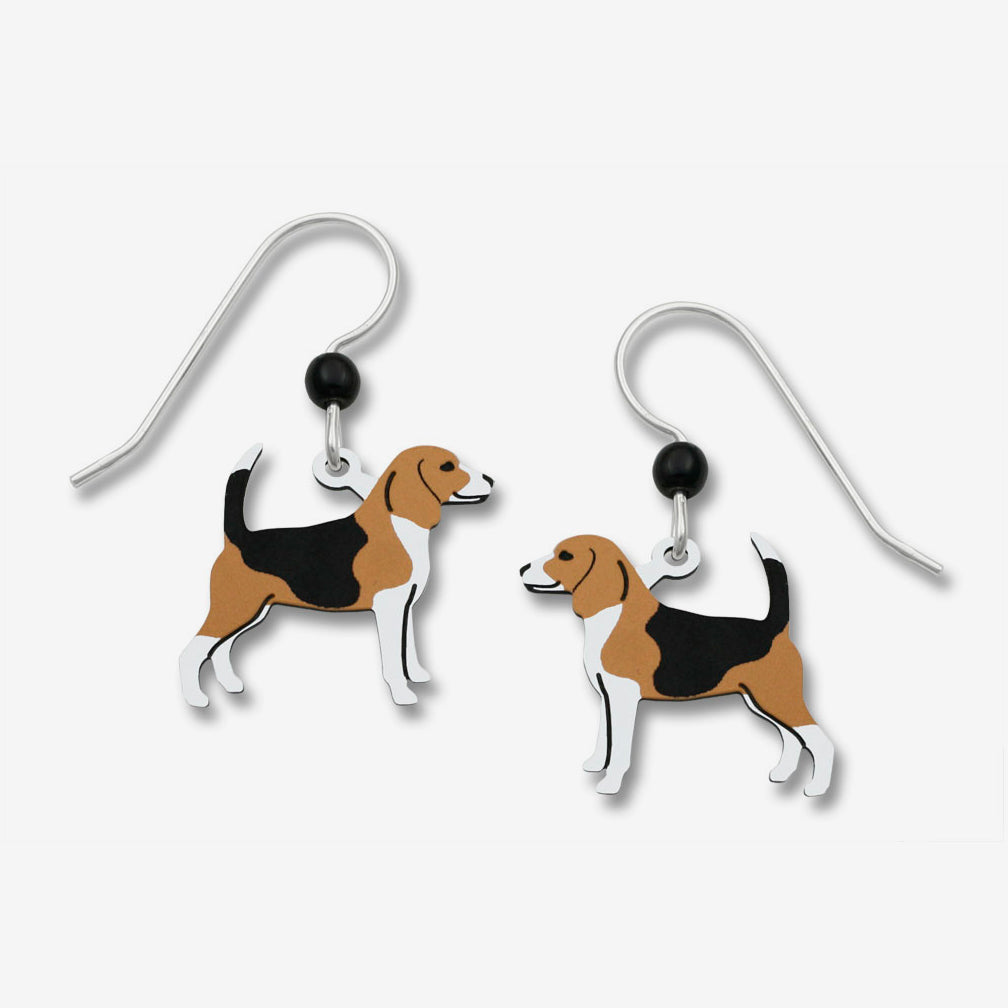Sienna Sky Earrings: Tan, Black, & White Beagle