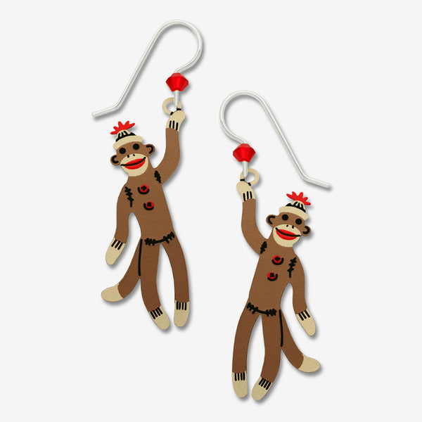 Sienna Sky Earrings: Sock Monkey