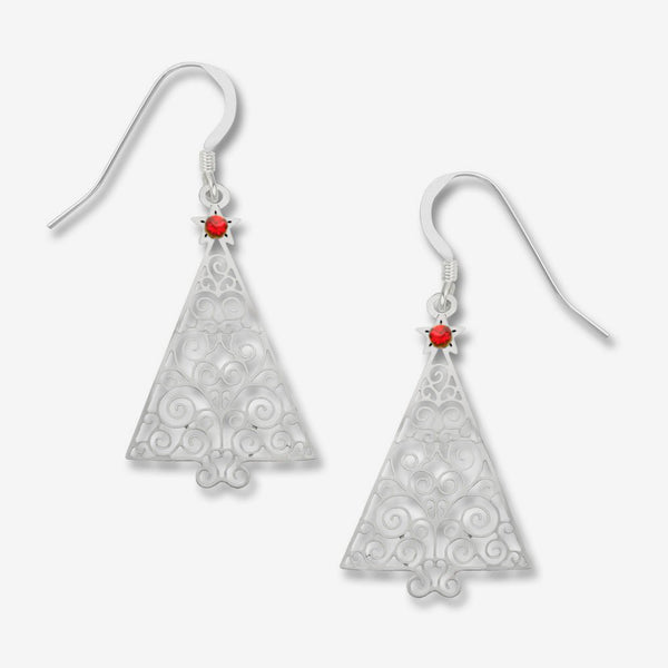 Sienna Sky Earrings: Filigree Christmas Tree with Red Star