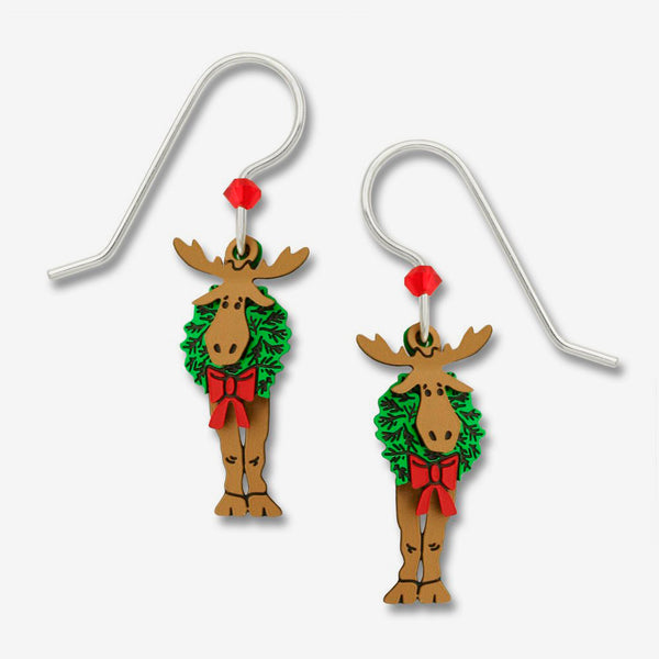 Sienna Sky Earrings: 3 Layer Moose with Wreath On Neck