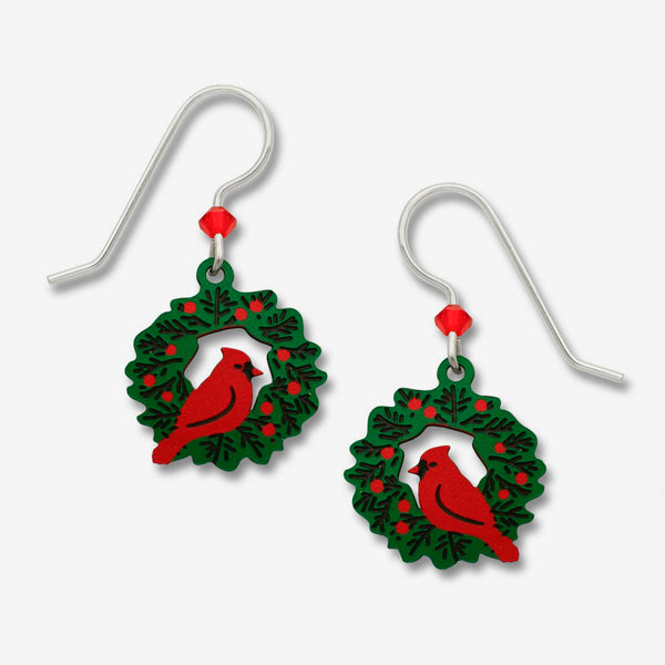 Sienna Sky Earrings: Cardinal Sitting On a Wreath