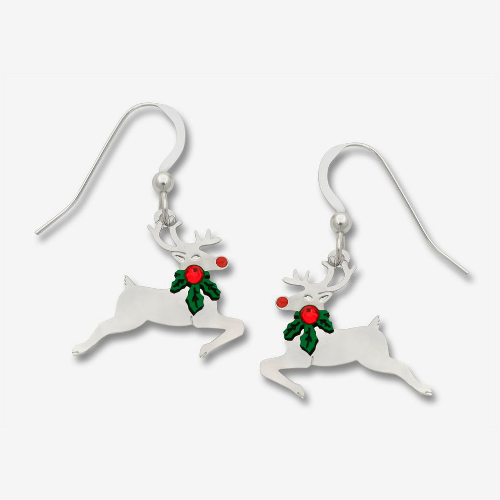 Sienna Sky Earrings: Reindeer with Holly 'Round His Neck