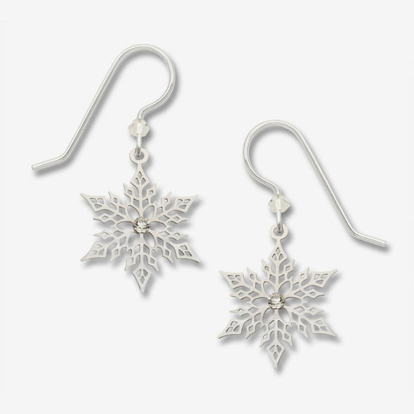 Sienna Sky Earrings: Large Filigree Snowflake Ir Plate with Rhinestones