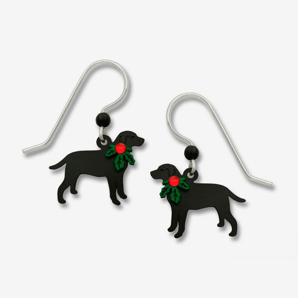 Sienna Sky Earrings: Black Lab with Holly On Neck