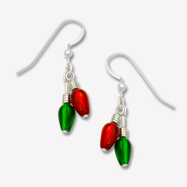 Sienna Sky Earrings: Beaded Red & Green Christmas Lights