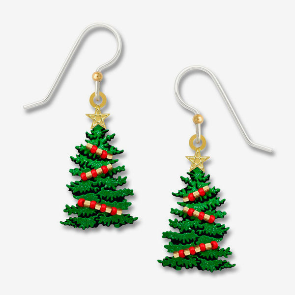 Sienna Sky Earrings: Sparkly Green Christmas Tree with Red Beads & GP Star