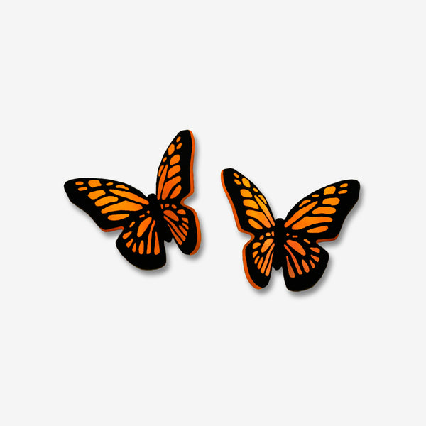 Sienna Sky Post Earrings: Small Folded Monarch Butterfly