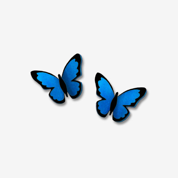 Sienna Sky Post Earrings: Small Folded Blue Morpho Butterfly