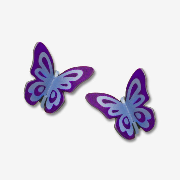 Sienna Sky Post Earrings: Purple Folded Butterfly