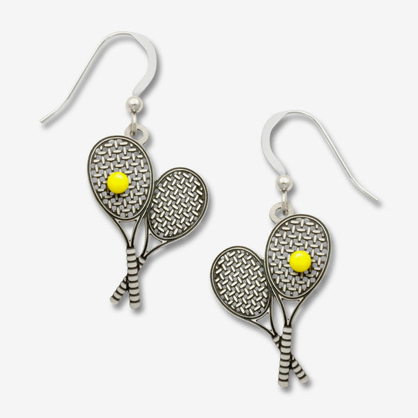 Sienna Sky Earrings: Tennis Raquet with Yellow Tennis Ball