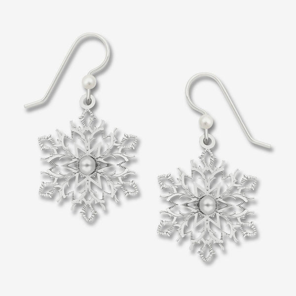 Sienna Sky Earrings: IR Filigree Snowflake with Glass Pearl Cab