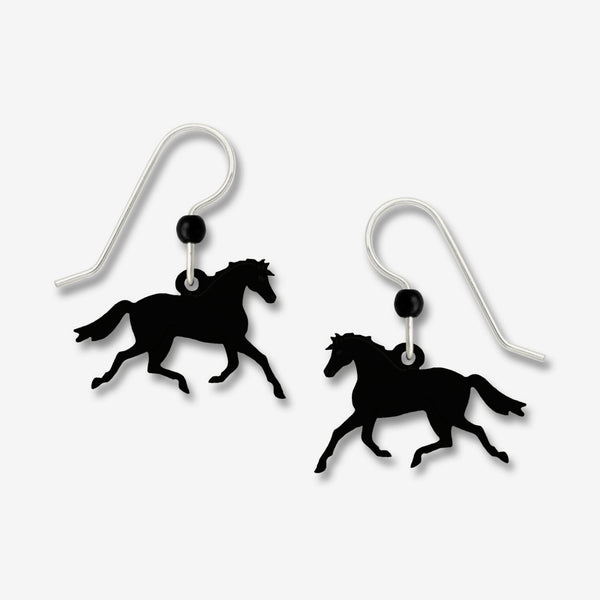 Sienna Sky Earrings: Black Trotting Horse with Moving Legs