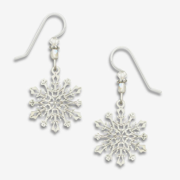 Sienna Sky Earrings: IR Filigree Snowflake with Crystal Beads