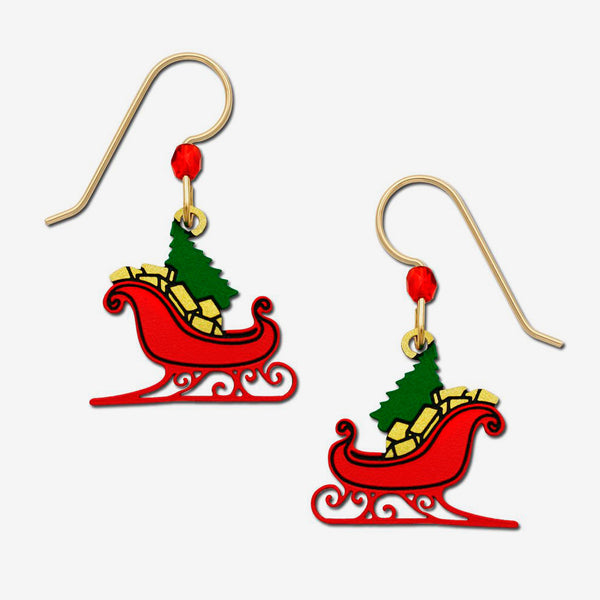Sienna Sky Earrings: Red Christmas Sleigh with Tree & Gifts